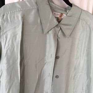 Long sleeve Sage silk blouse